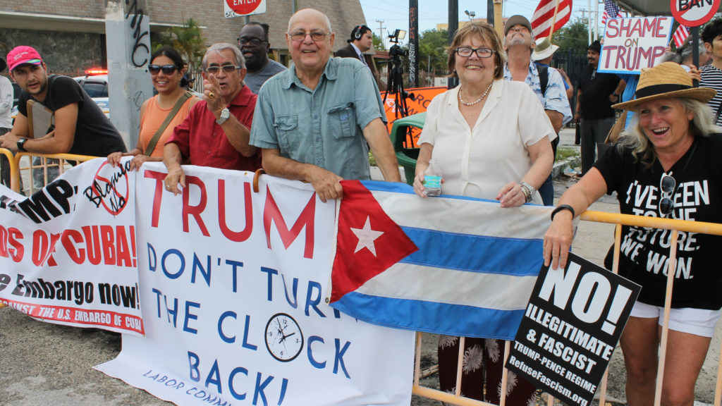 When President Donald Trump announced he would roll back diplomatic relations with Cuba, some Cuban-Americans in Miami protested the decision. This group supports the Obama-era policy that restored diplomatic relations with Cuba. (Amaury Sablon/GroundTruth)