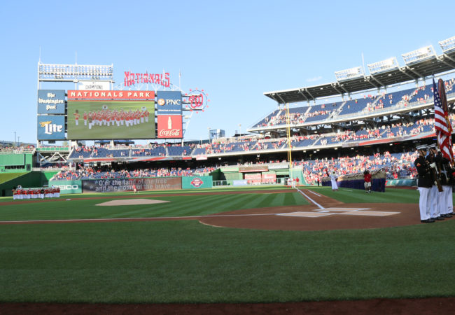 The US Marine Band plays the national anthem at Nationals Park in Washington, D.C. (Photo courtesy of the U.S. Marine Band)