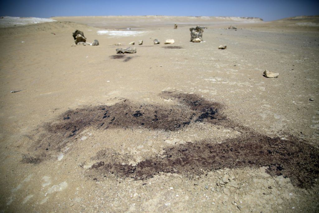 The outlines where victims fell in the ISIS attack on the road to Saint Samuel Monastery in Minya, Egypt on May 26, 2017.