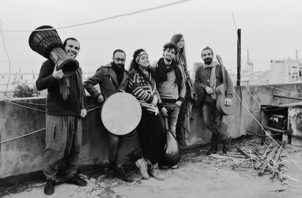 Assa'aleek minus Ahmad Naffory, their founder. The band (from right Nazeer Salama, Inger Hannisdal, Sam Abdullah, Mona Al-Merstany, Abodi Jatal and Mohamad Khayata) remains in Beirut and continue performing. Ahmad has started a band in Amsterdam. (Photo courtesy Mohamad Khayata)