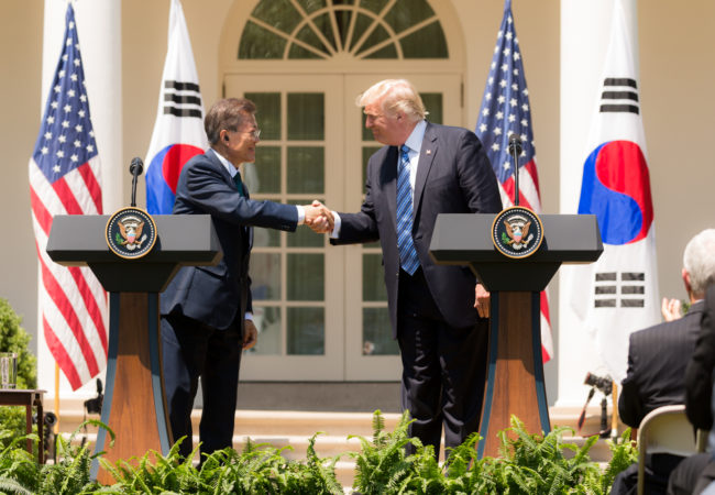 President Donald J. Trump and President Moon Jae-in of South Korea participate in joint statements on Friday, June 30, 2017, in the Rose Garden of the White House in Washington, D.C. The two leaders have differing approaches to North Korea, with Moon favoring engagement. (Official White House Photo by Shealah Craighead)
