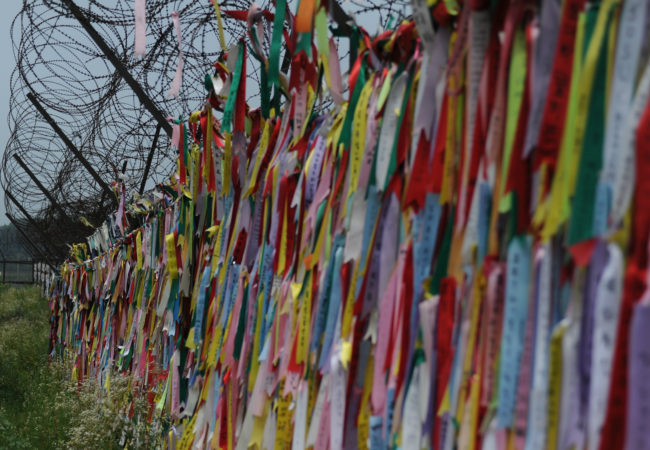 South Koreans who left behind their ancestral homes in North Korea when it was divided leave messages on ribbons at Imjingak Park in Paju, South Korea. The park near the South Korea-North Korea border commemorates the division of the two countries and the ongoing pain it has caused. (U.S. Army Garrison Red Cloud/Flickr Creative Commons)