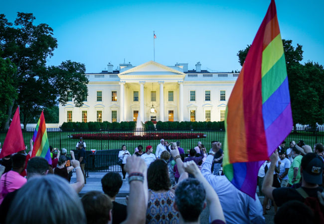 Protesters at the White House on July 26, 2017, protest Donald Trump's announcement on Twitter, that transgender military servicemembers will no longer be allowed to serve. (Ted Eytan/Flickr Creative Commons)