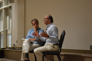 Charles Sennott (left) interviews Thomas Herman, the director of the documentary DATELINE—SAIGON on Aug. 3, 2017, at the Woods Hole Film Festival. (Lucy Lyons/GroundTruth)