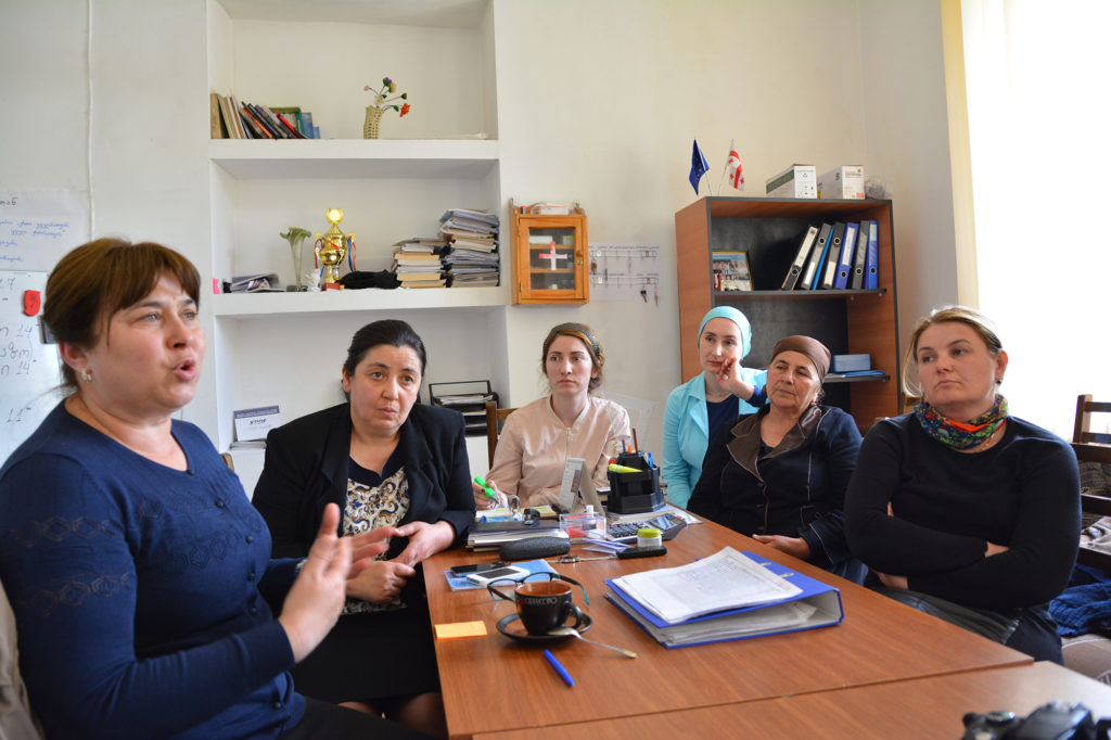 Tamar Bekauri (left) is the executive director of the KRDF and is also a member of the 15-person Pankisi Women's Council. (Maryam Saleh/GroundTruth/Medill)