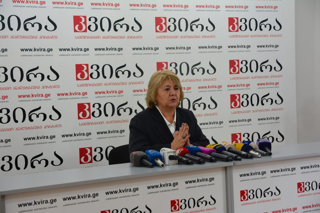 Guguli Magradze of the Georgian Dream party speaks at a news conference on May 8, 2017. (Maryam Saleh/Medill/GroundTruth)