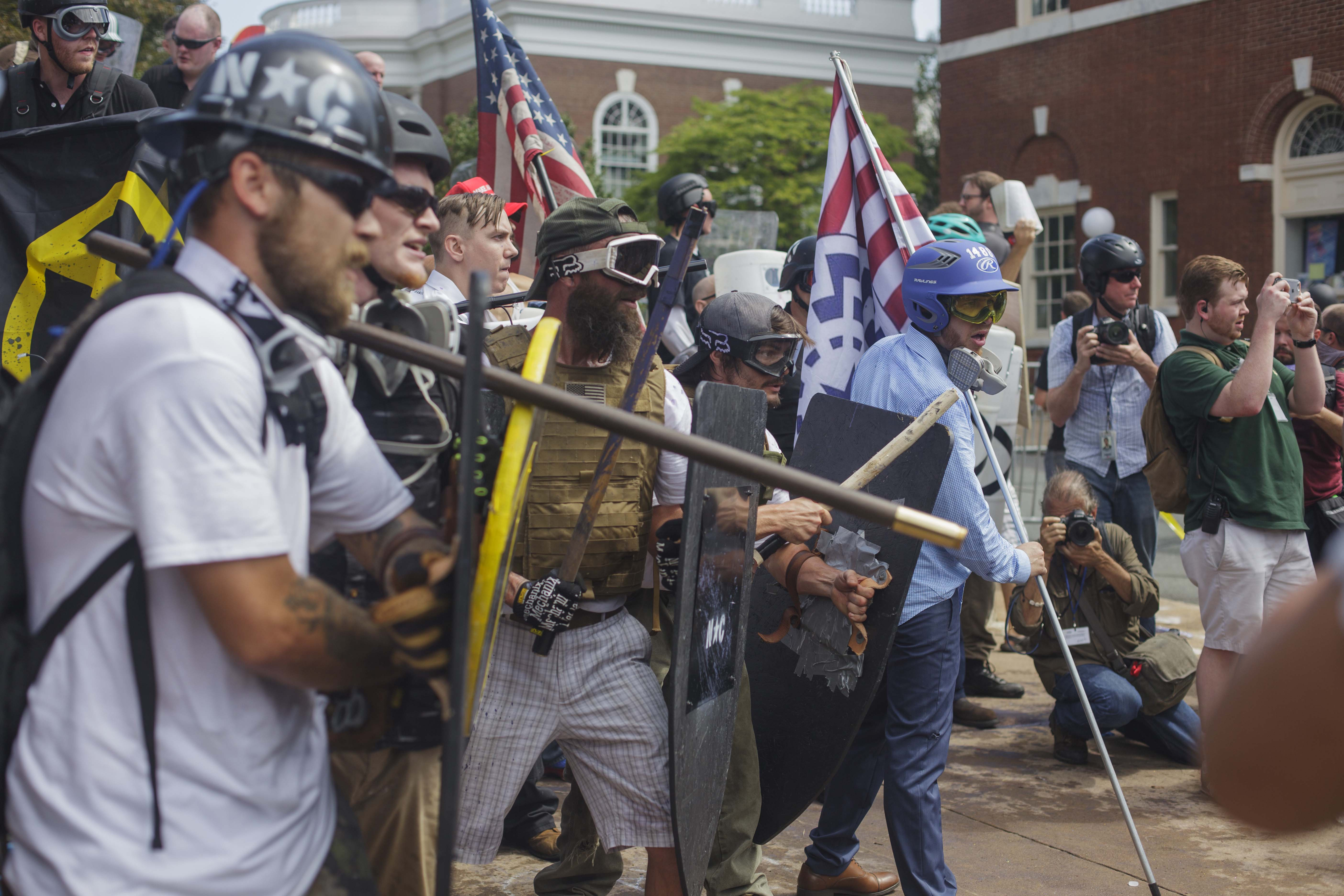 White Supremacist used shields, flagpoles and mace as weapons against the Antifa. August 12, 2017 Charlottesville, VA. (Shay Horse/GroundTruth)