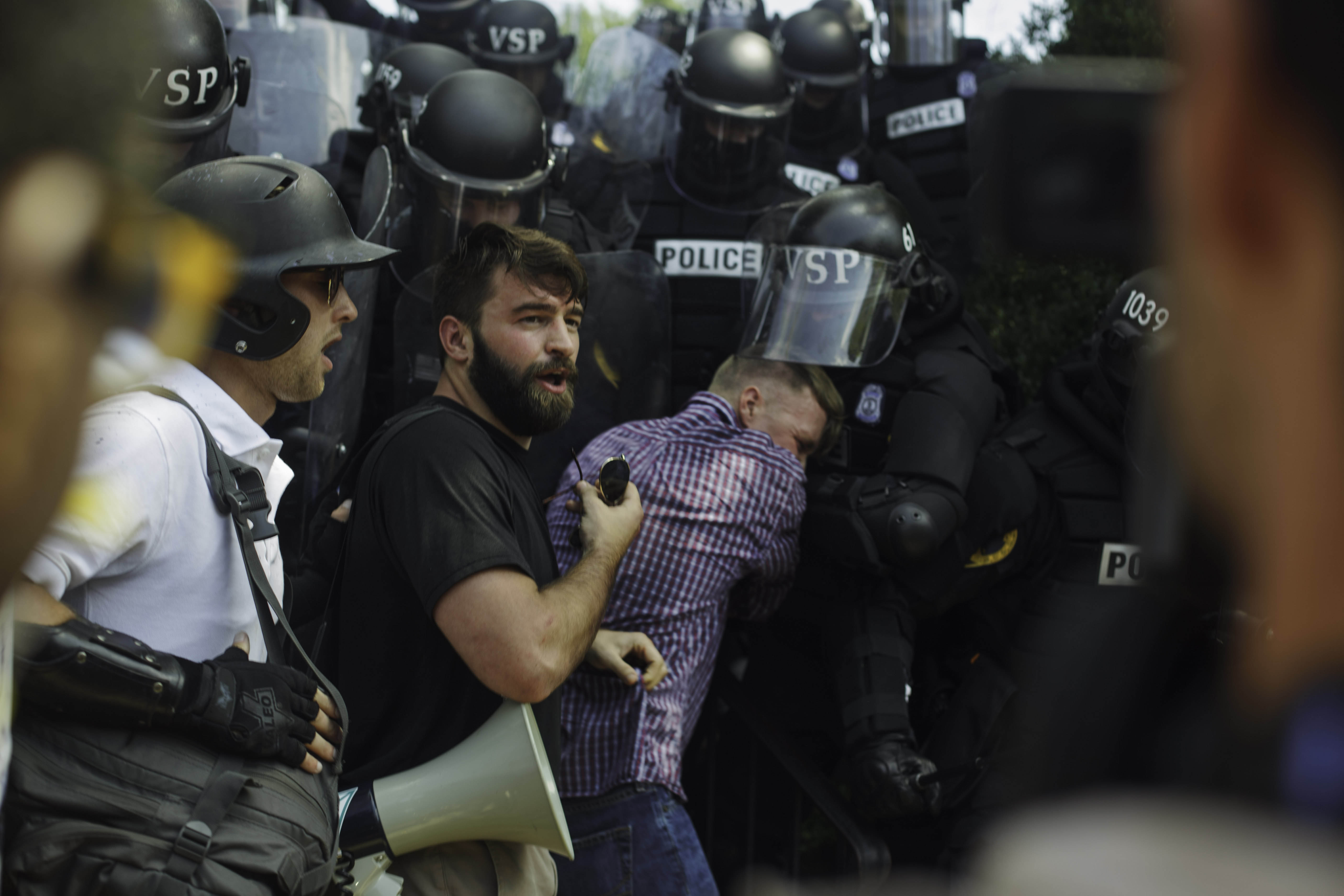 Alt right activist Tim Gionet, also known as Baked Alaska, says that he suffered from permanent eye damage after being sprayed with bear mace during the brawls that occurred during the UniteThe Right rally. August 12, 2017 Charlottesville, VA. (Shay Horse/GroundTruth)