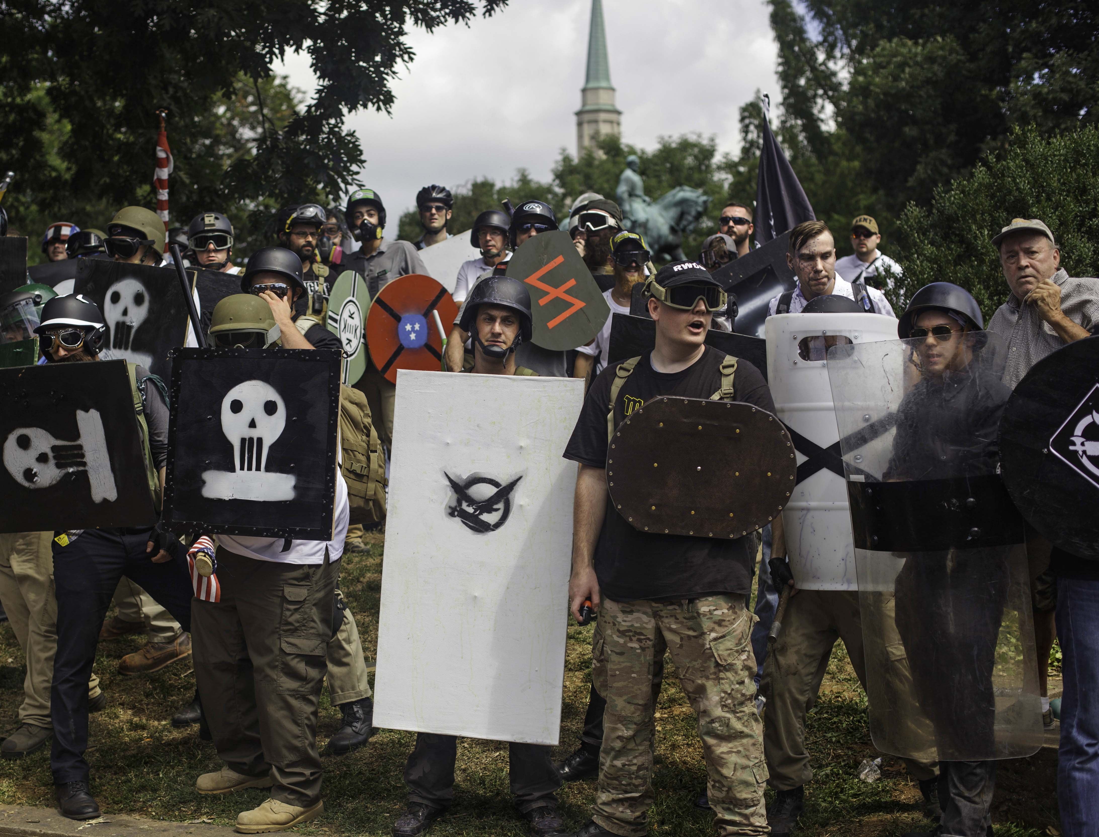 The White Supremacists form a line against the Antifa at Lee Park. They attempted to hold the park until a state of emergency was declared and the Virginia State Police cleared the park. August 12 , 2017 Charlottesville, VA. (Shay Horse/GroundTruth)