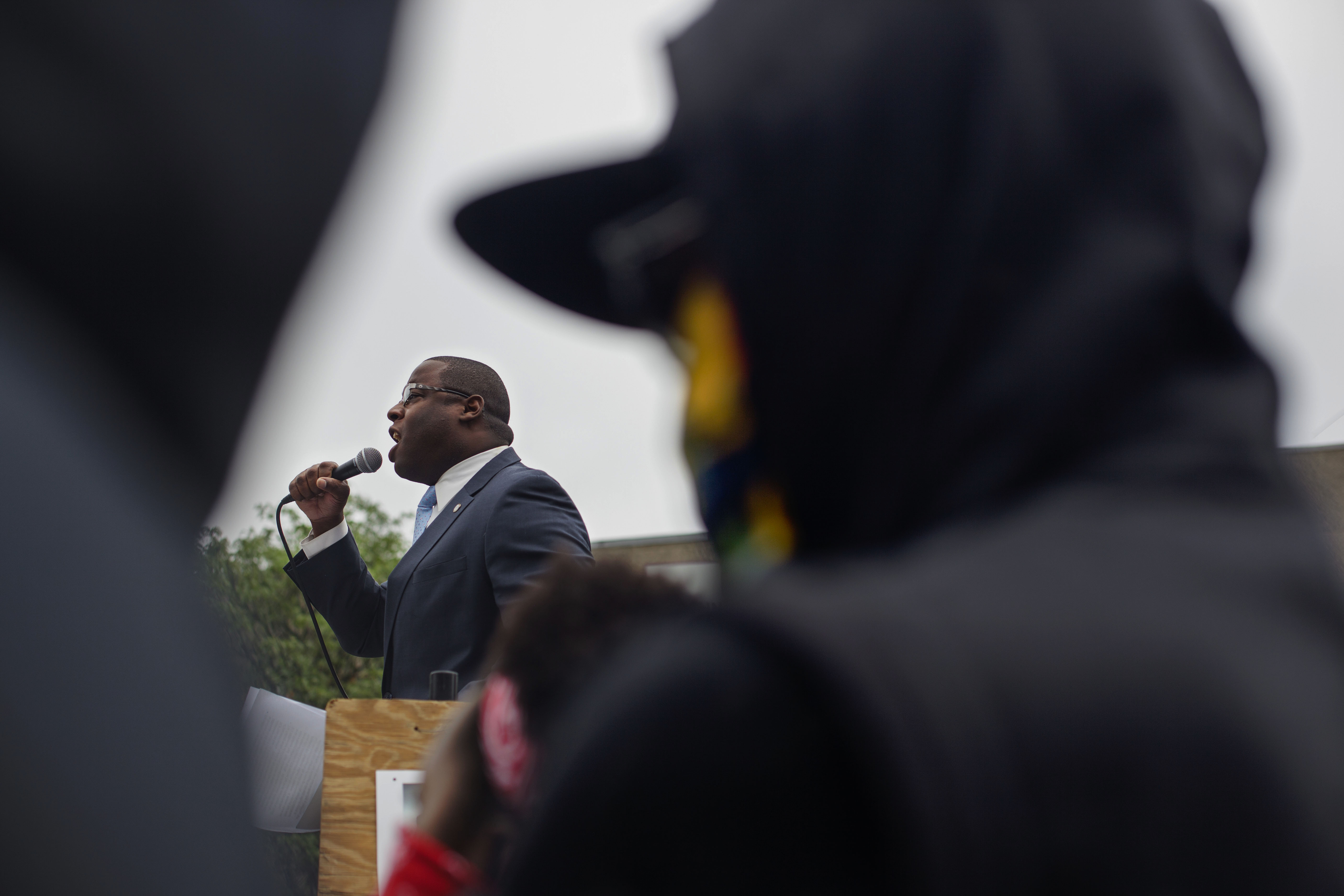 Boston City Councilman and mayoral candidate Tito Jackson spoke to the crowd of counter protesters assembling at Reggie Lewis Track & Field Center. Jackson spoke against white nationalism and the Free Speech Rally happening at the Boston Common. (Shay Horse/GroundTruth)