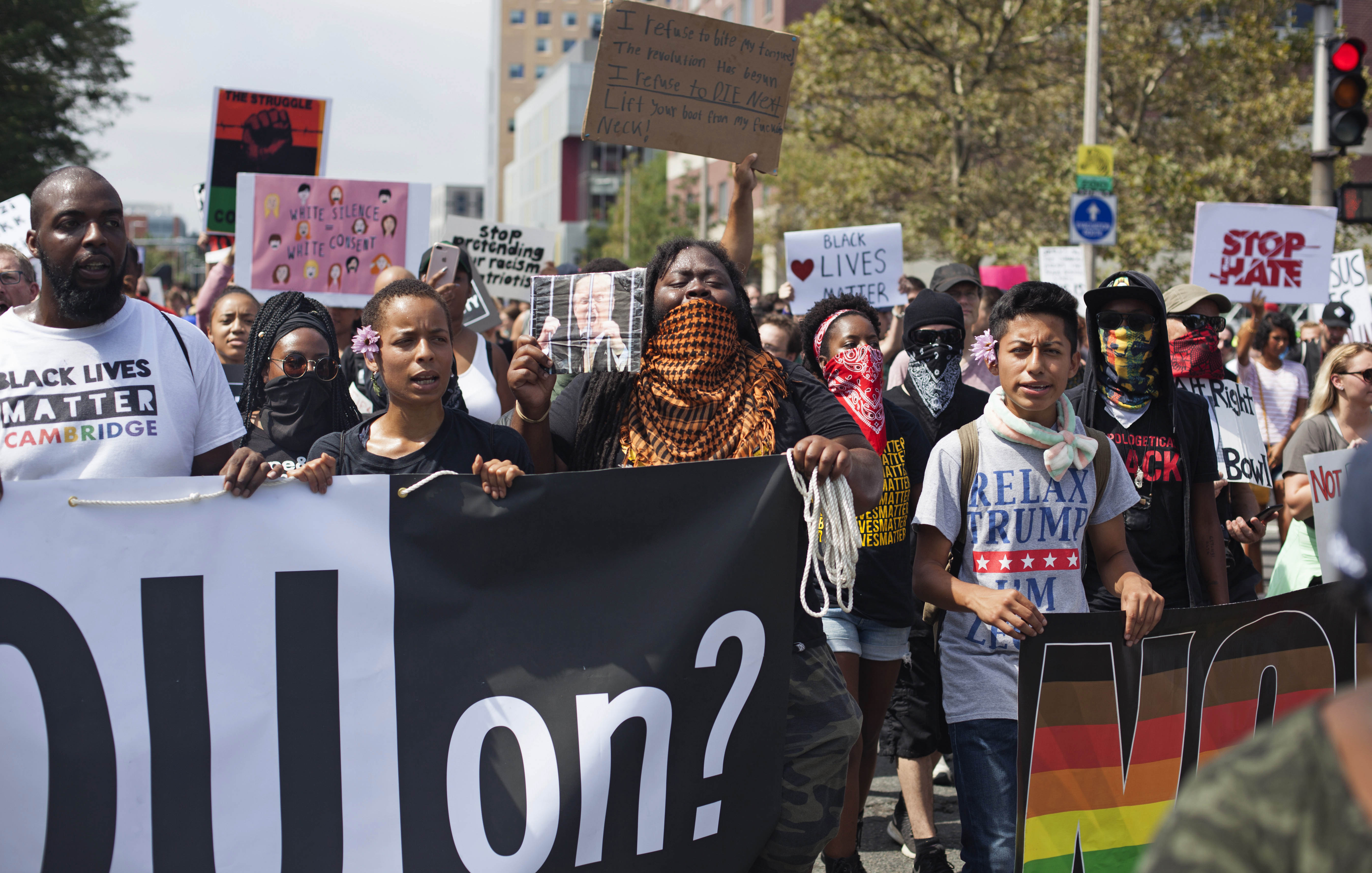 Counter protesters march down Tremont Street towards the Boston Common, where the Free Speech Rally was being held. (Shay Horse/GroundTruth)