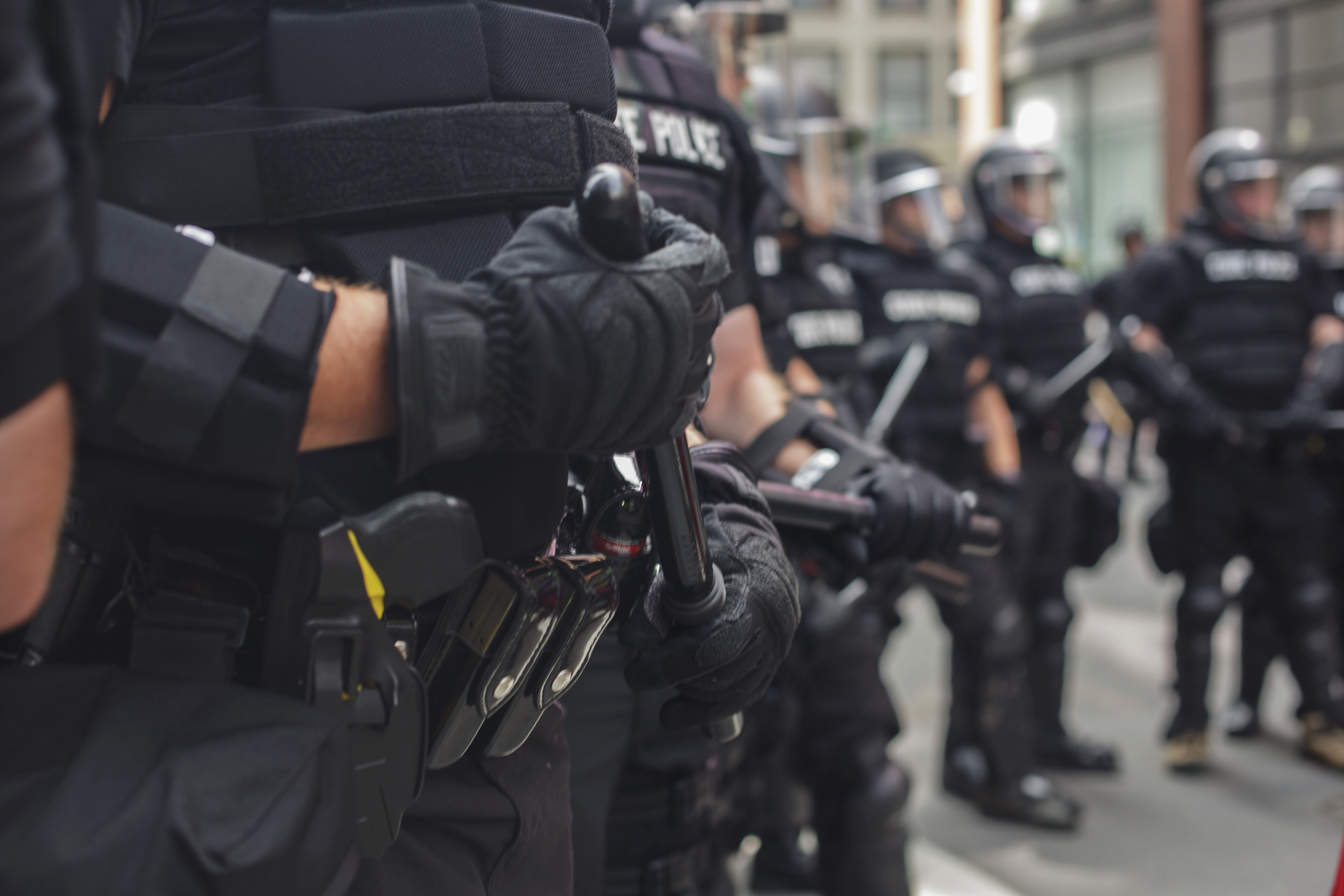 Boston police in riot gear cleared the streets of counter protesters as the police escorted Free Speech Rally attendees in paddy wagons. (Shay Horse/GroundTruth)