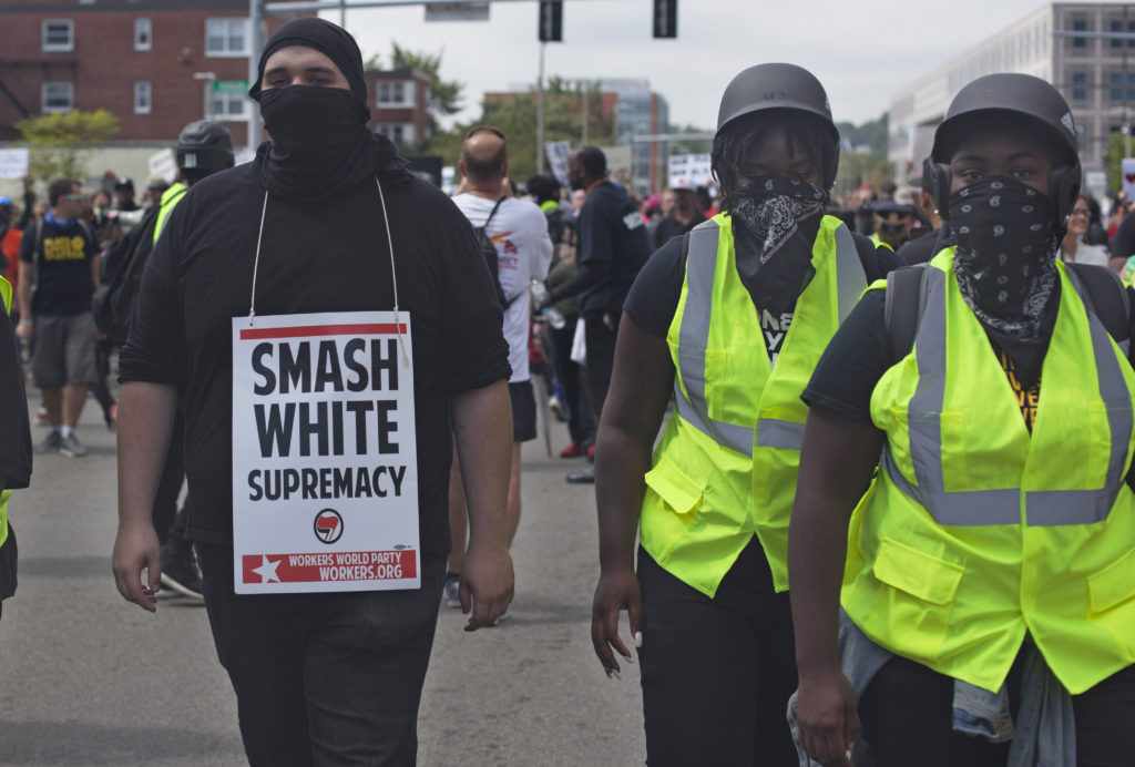 Counter protesters marching against the Free Speech rally that was held at the Boston Common on Saturday. The early guest list, which included well known alt-right speakers, mobilized counter protesters who saw it as a white nationalist rally. Rally organizers insist the event was to observe first amendment rights of people holding all view points. (Shay Horse/GroundTruth)