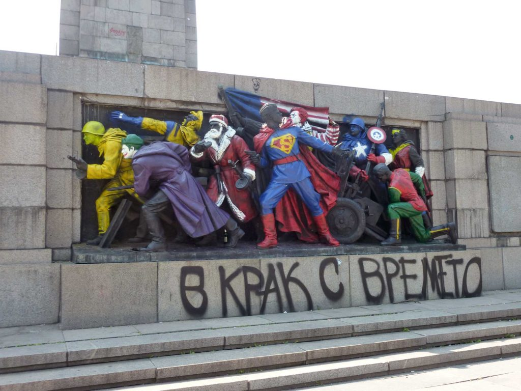 The Monument to the Soviet Union is often defaced, sometimes with Marvel Comics characters. (David Jordan/Medill/GroundTruth)