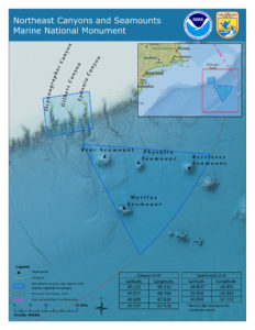 Map of the Northeast Canyons and Seamounts (Courtesy NOAA)