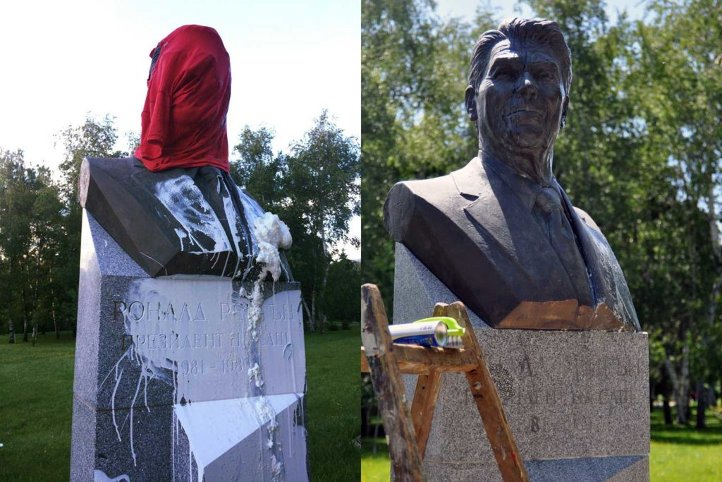 A statue of Ronald Reagan was defaced  (left) and then restored  (right). (David Jordan/Medill/GroundTruth)