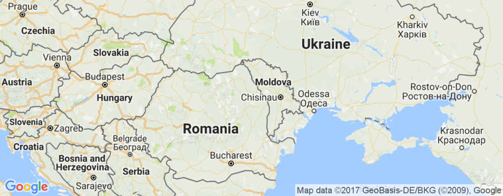 Moldova is sandwiched between Ukraine and Romania.