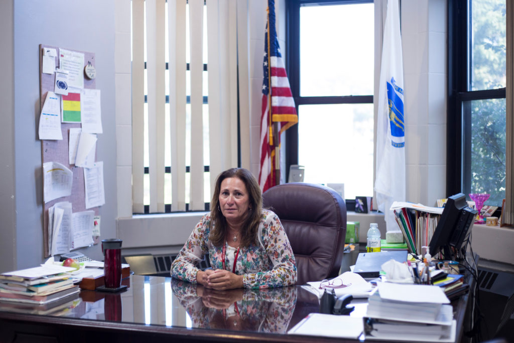 Diane Bauer the principal for the High School of Commerce in her office in Springfield, Mass., on Tuesday, September 12, 2017. (Photo by Brittany Greeson)