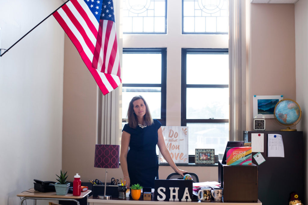 Grace Howard-Donlin, principal of the Springfield Honors Academy, in her office in Springfield, Mass. (Photo by Brittany Greeson)