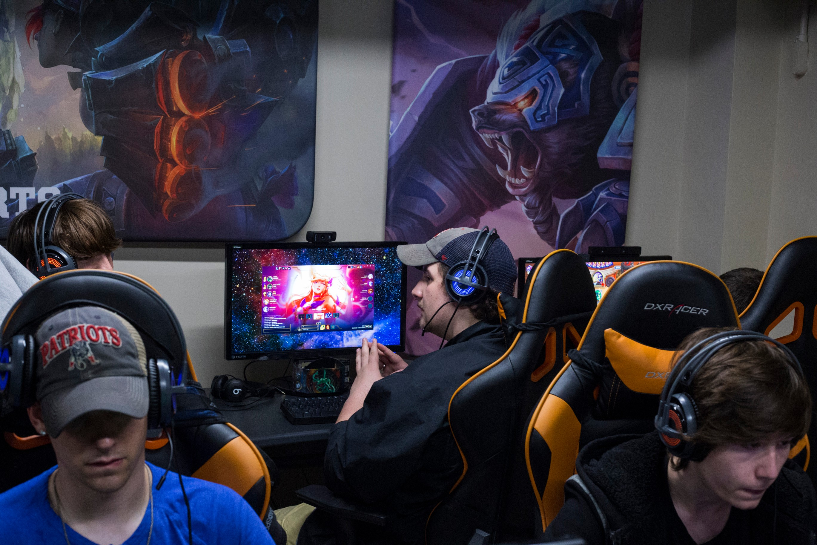 Pro-gamers spend their evening tactfully planning their next moves at the University of Pikeville's ESports Arena in Pikeville, Ky., on Thursday, September 21, 2017. The University has offered scholarships to the students, who are classified as student athletes on campus. (Photo by Brittany Greeson/GroundTruth)