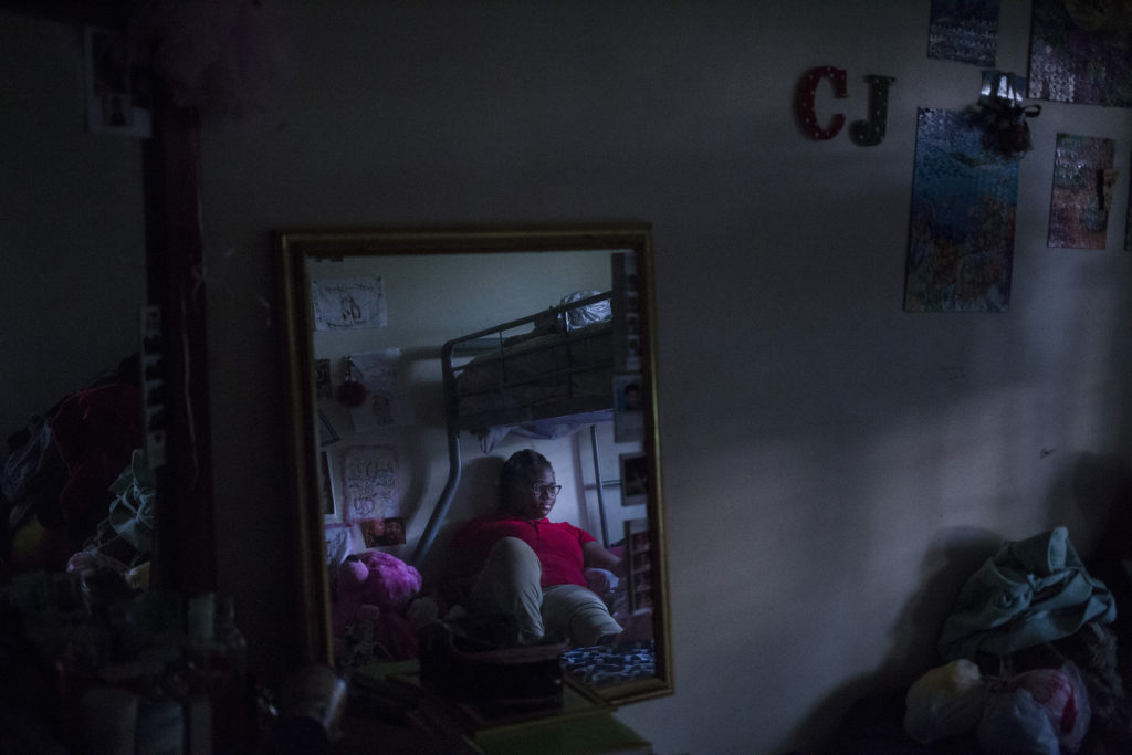 Tre'ana Taylor, 17, in her room, which she shares with her sister and niece, at her home in Springfield, Mass., on Monday, September, 11, 2017. At the age of 15, Taylor faced both a pregnancy and the subsequent loss of her son, C.J., when he was born prematurely. She has high hopes of being a mother again once she's completed her schooling to become an OB-GYN. (Photo by Brittany Greeson)