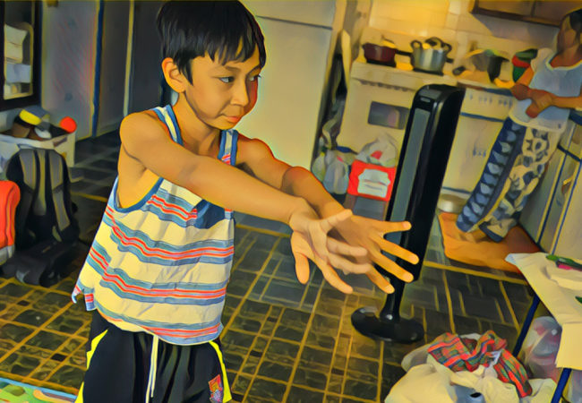 Maddox practices his Cambodian dance moves in front of the TV. His grandmother Ly Chea prepares lunch — a spicy Cambodian stew. (Photo by Heidi Shin with Prisma filter)
