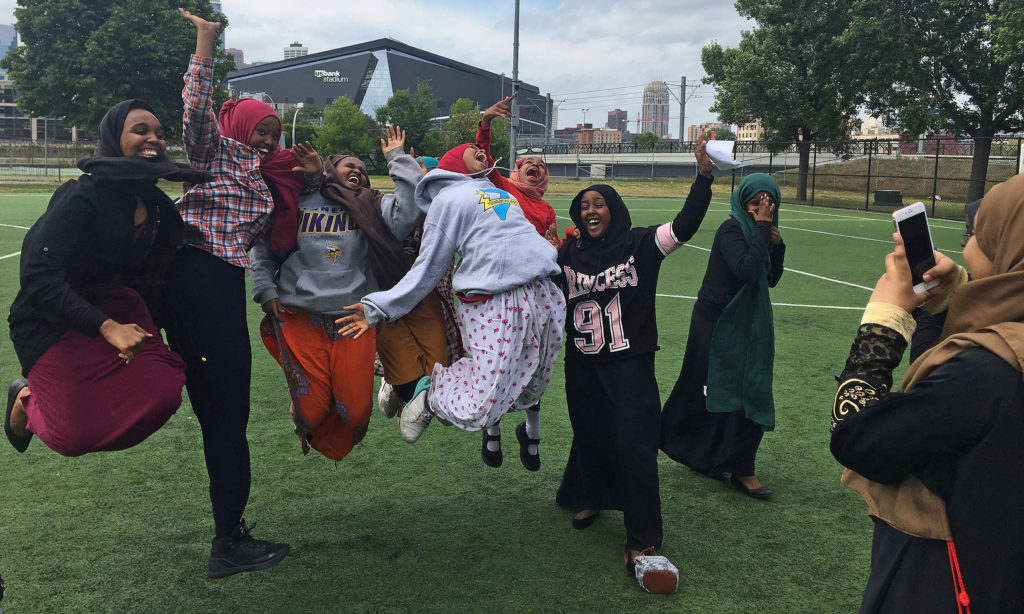 Fowsiya Husein, 15, won a student photography contest for this iPhone photo of her classmates in midair. (Photo by Fowsiya Husein)