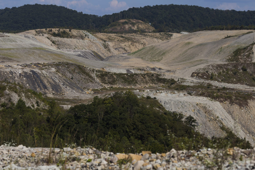 The remains of a strip mine are seen from a mountain top in Pike County, Ky., on Wednesday, September 27, 2017. (Photo by Brittany Greeson)