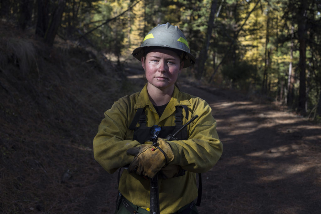 Lindsey Burland Roullier, 27, an enrolled member of the Confederated Salish and Kootenai Tribe and a forestry technician and wildland firefighter in Pablo, Montana, on Tuesday, October 24, 2017. (Photo by Brittany Greeson)