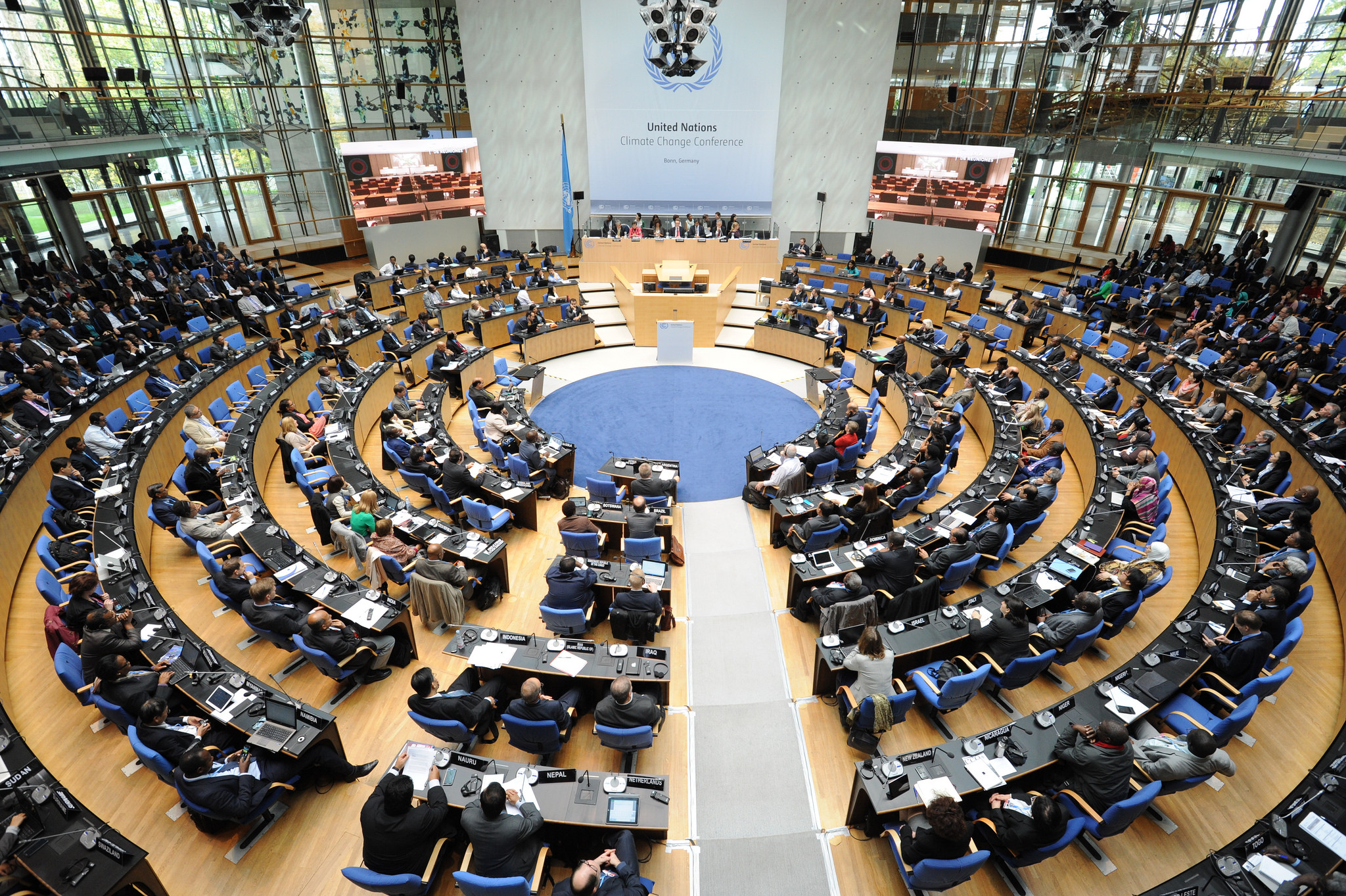 """A shot of the 21st annual """"conference of the parties"""" (COP) under the UN Framework Convention on Climate Change (UNFCCC), which took place in 2014. This year's conference will mark the 23rd COP climate change meeting."""