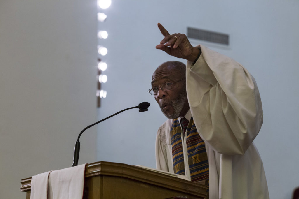 Dr. Amos C. Brown gives a sermon at the Third Baptist Church, where is the pastor, in the Fillmore district of San Francisco, California, on Sunday, November 5, 2017. (Photo by Brittany Greeson)