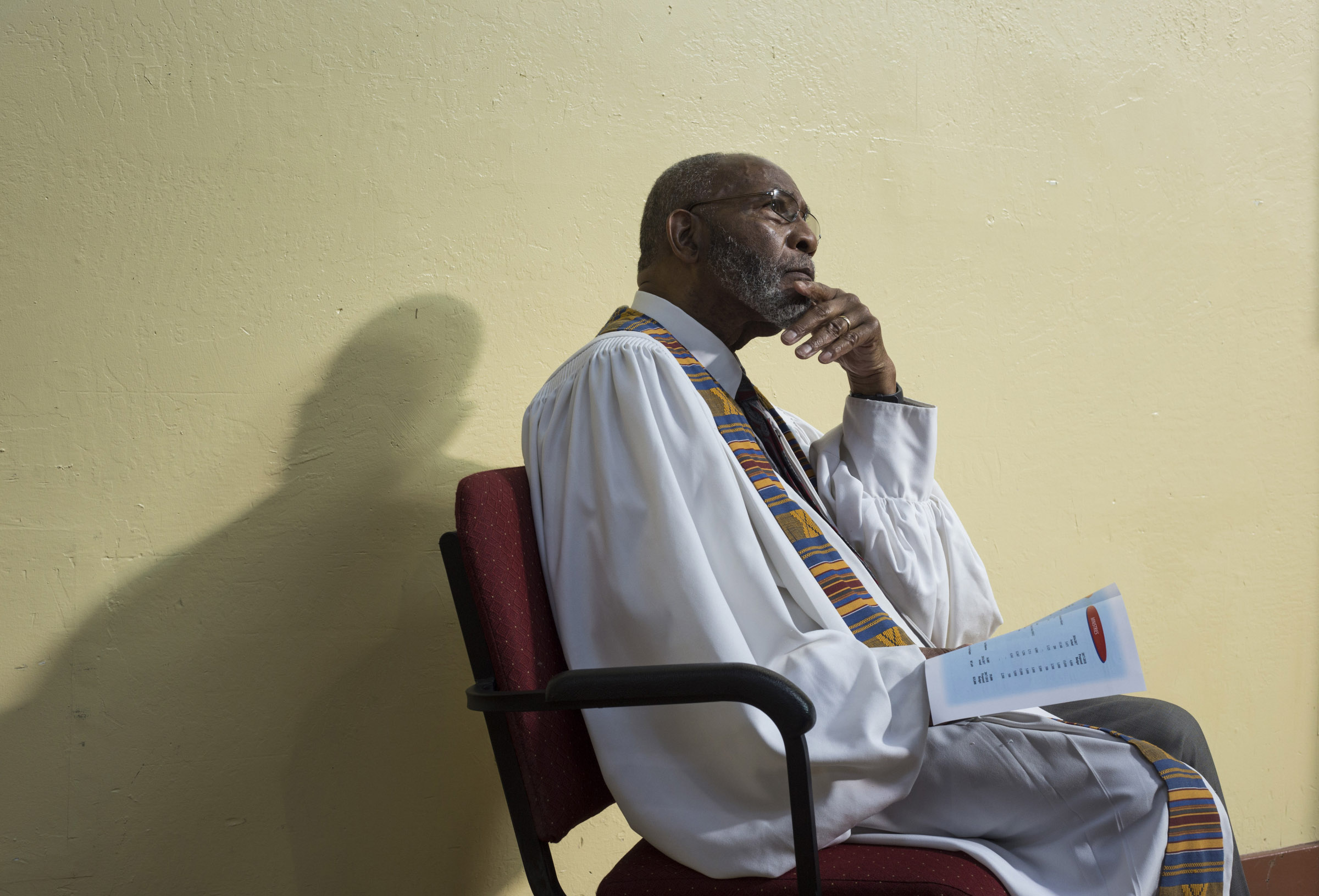 Dr. Amos C. Brown listens to a discussion about the budget with his congregation during a luncheon at the Third Baptist Church, where he is the pastor, in the Fillmore district of San Francisco, California, on Sunday, November 5, 2017. (Photo by Brittany Greeson)