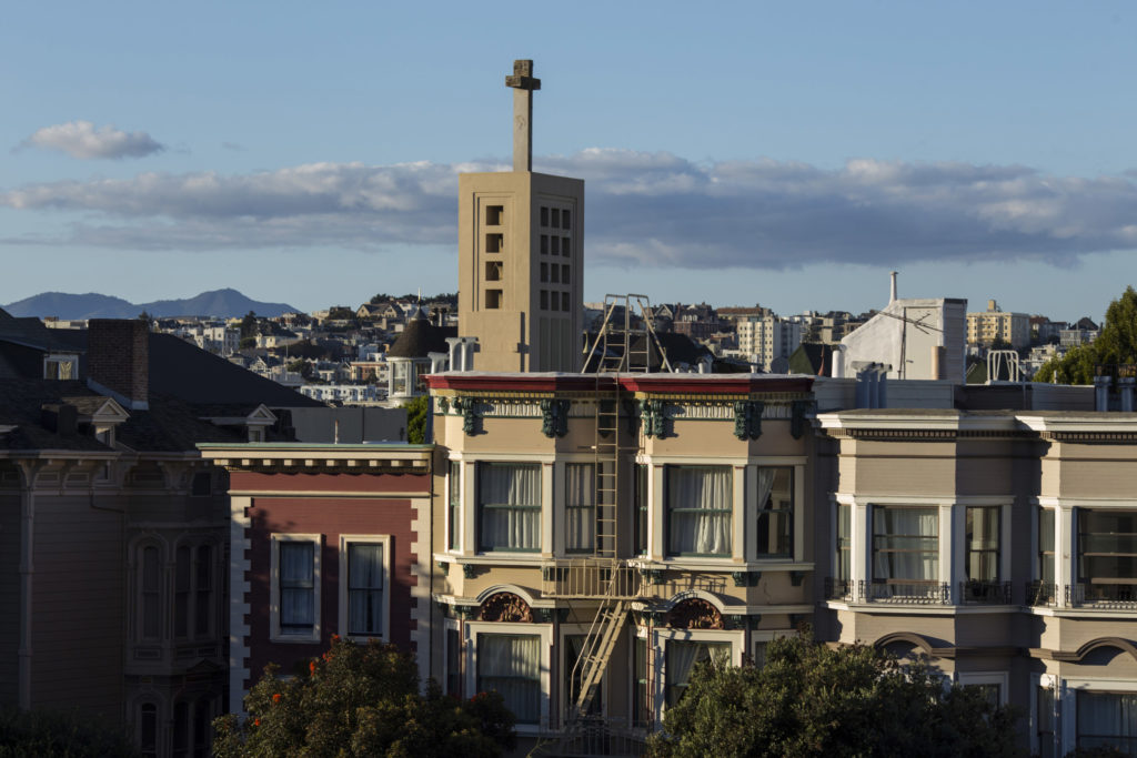 The Third Street Baptist Church towers above homes in the Fillmore District of San Francisco, California, on Tuesday, November 7, 2017. (Photo by Brittany Greeson)