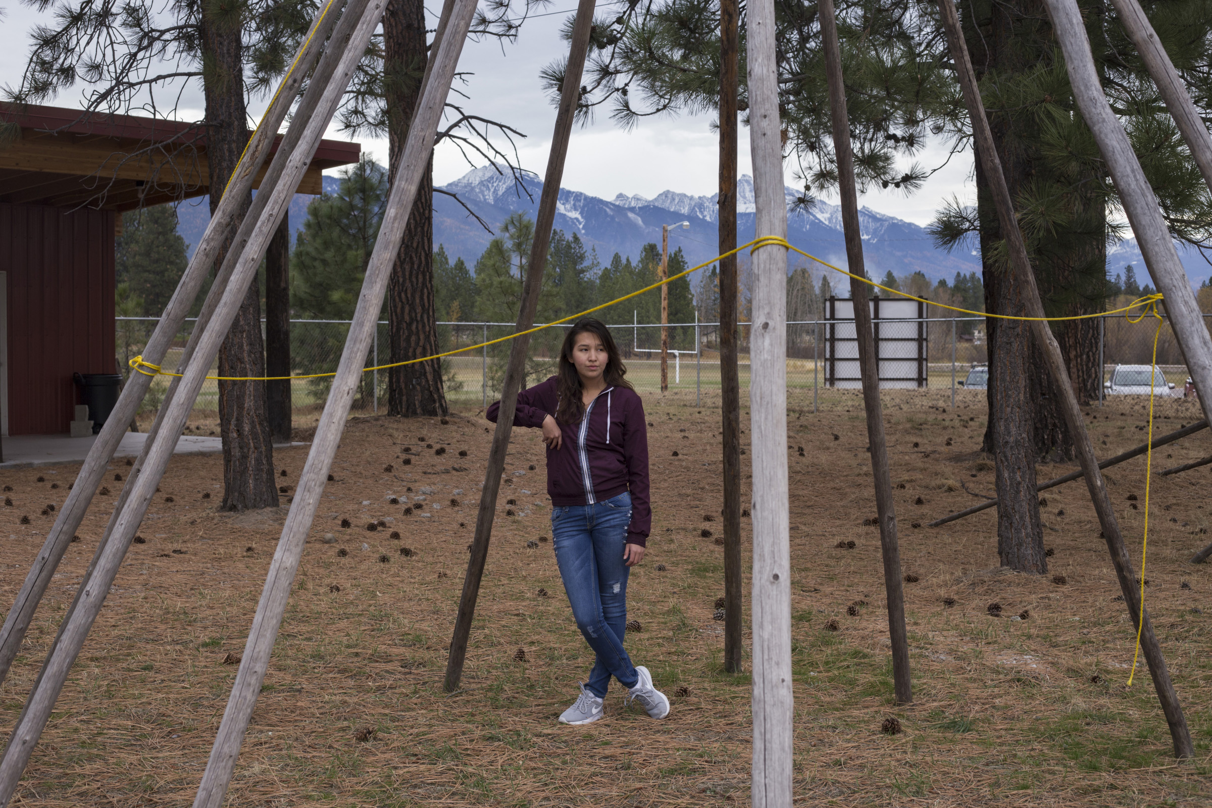 Nikki Burke, 17, outside of her school, Two Eagle River High School, in Pablo, Montana, on Wednesday, October 25, 2017. (Photo by Brittany Greeson)