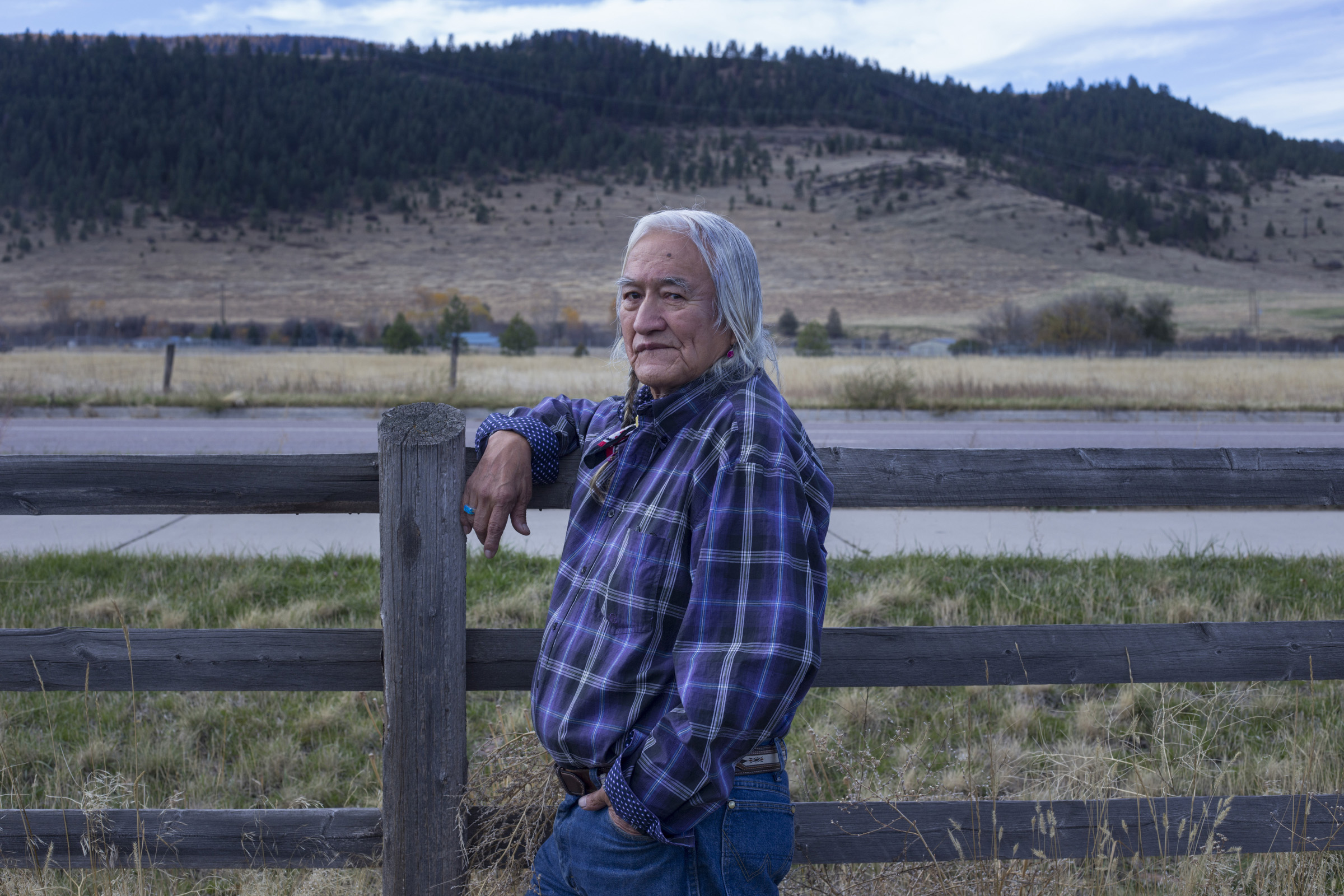 Stephen Small Salmon, 78, outside of Nkwusm, a Salish language school in Arlee, Montana, where he teaches, on October 22, 2017. Small Salmon is one of the few fluent speakers of the Salish tribal language on the Flathead Reservation. (Photo by Brittany Greeson)