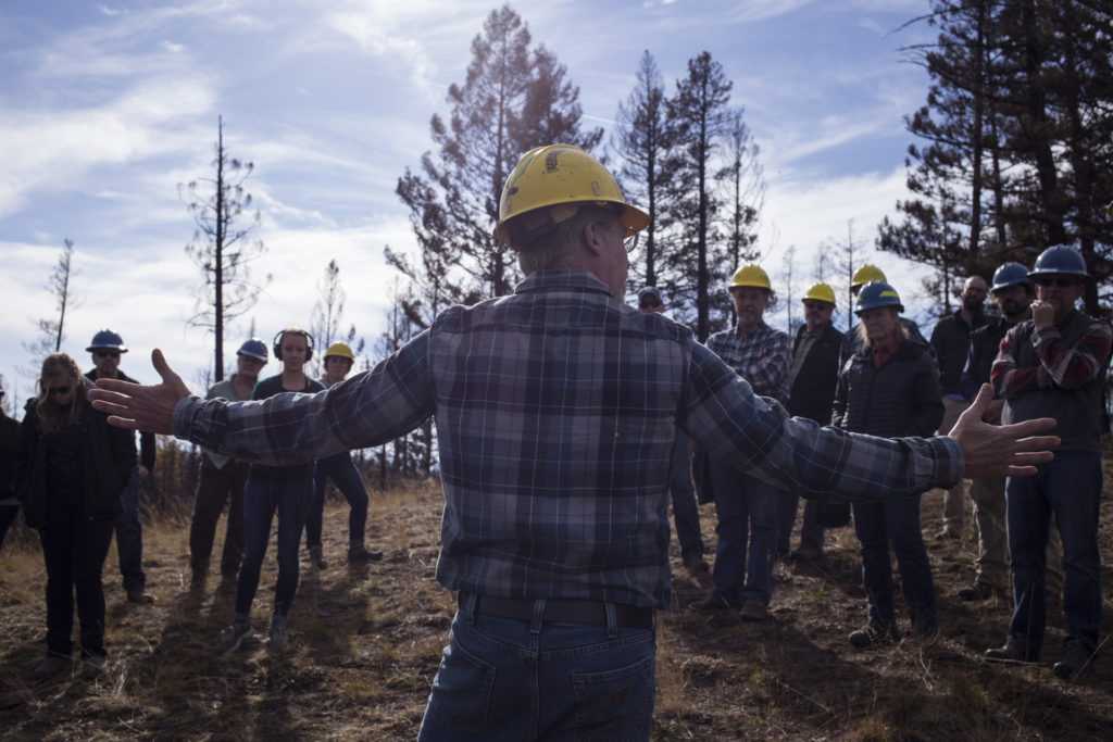 Members of the Southwestern Crown Collaborative discuss restoration plans after the Rice Ridge Fire outside of Seeley Lake, Montana, on Thursday, October 19, 2017. (Photo by Brittany Greeson)