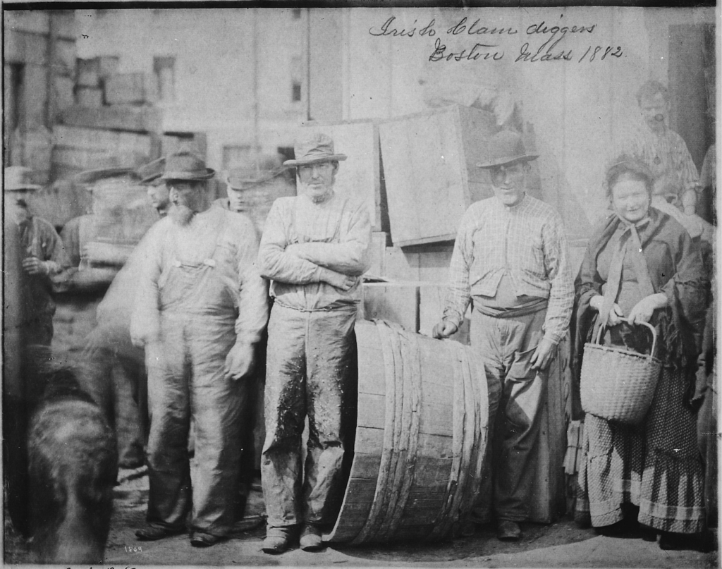 Bearded Irish clam diggers on a wharf in Boston in 1882. (U.S. National Archives and Records Administration/Wikimedia Commons)