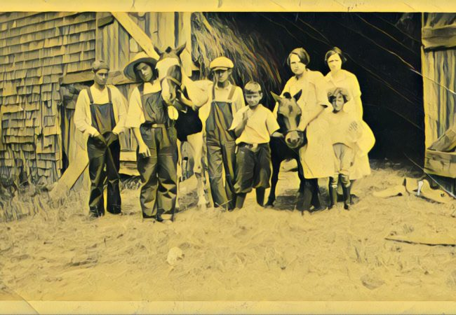 'The family, pony, and saddle horse,' is a photograph from the City of Boston School Department's Jamaica Plain High School collection. The photo was taken between 1900-1920. (Photo from City of Boston Archives with Prisma filter)