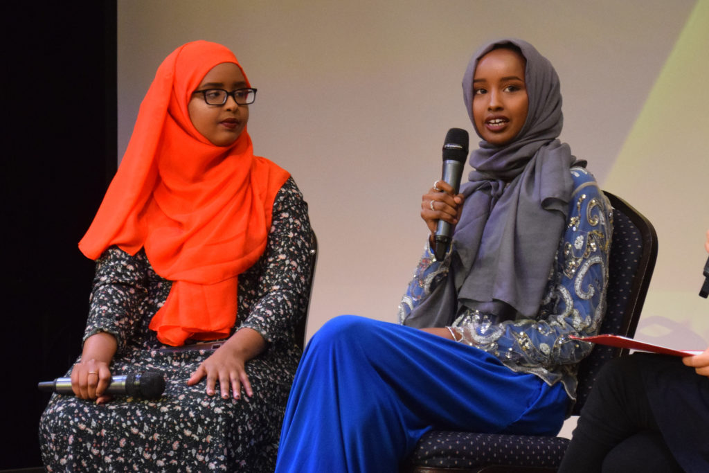 From left, Hamdi Mohamed and Amal Hussein participate in a discussion on October 7, 2017. (Photo by Ian Coss)