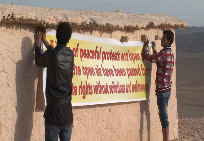 Residents of the seven villages of Imider — mostly Amazigh people, an indigenous group across north Africa also known as Berbers — have been protesting a nearby silver mine for years, saying it has contaminated their water supply. (Beth Murphy/GroundTruth)