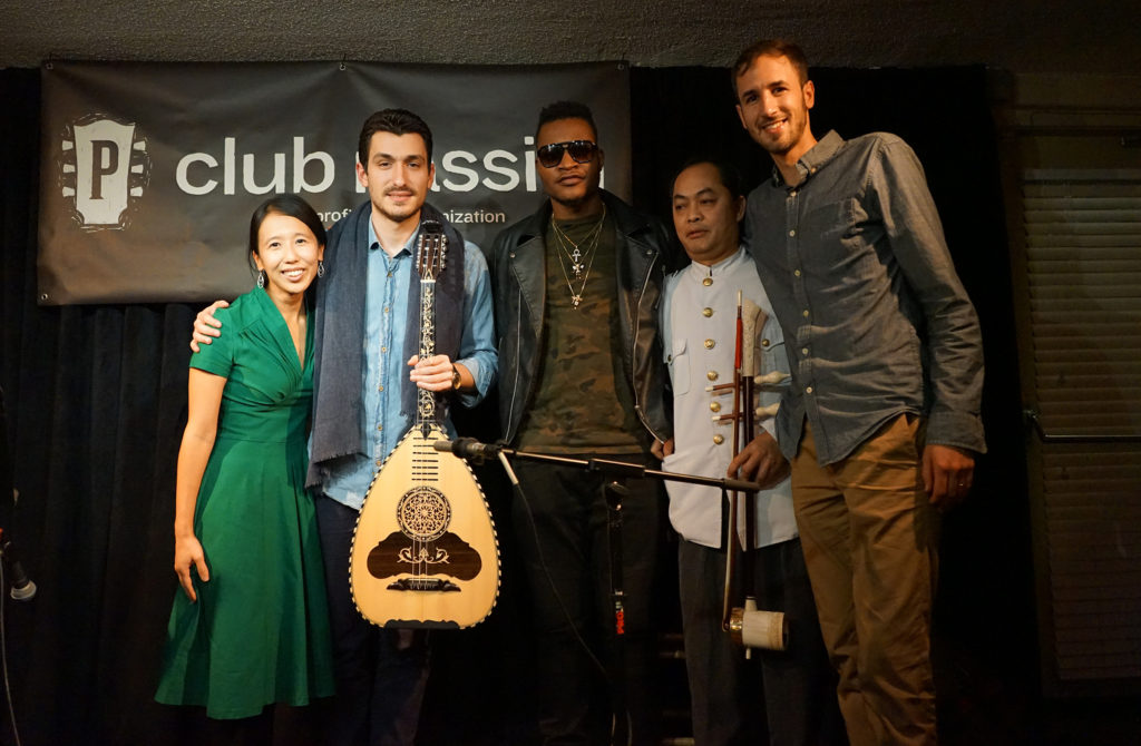 The New American Songbook's Heidi Shin (far left) and Ian Coss (far right) pose for a photo with (from left) Greek laouto player Vasilis Kostas, Haitian rapper Masterbrain and Cambodian-American musician Sovann Kohn at Club Passim in Cambridge on November 21, 2017. (Photo by Wesley Wong)