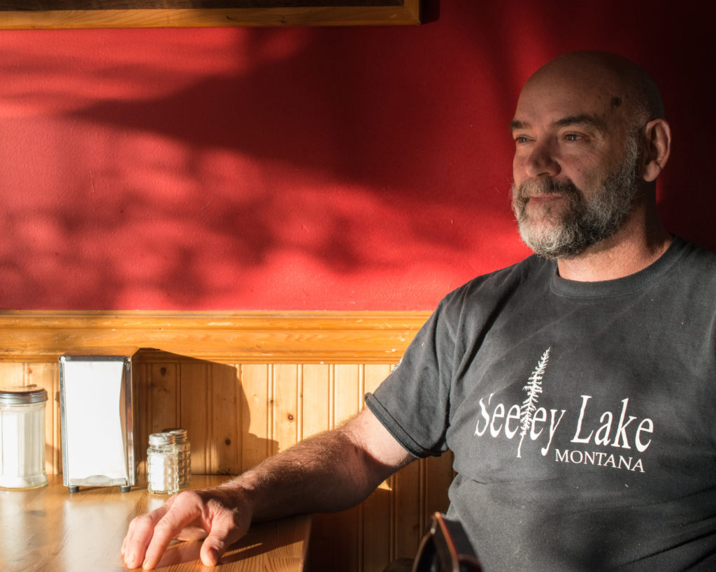 Tim Clark is the owner of Pop's Place, a diner in Seeley Lake, Montana. (Photo by Ben Brody)