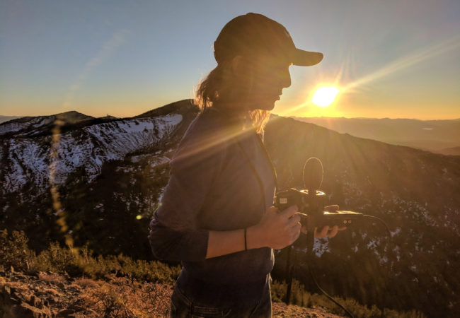 Rachel Cramer, a GroundTruth fellow, pictured on Mt. Rose in Nevada. (Ben Brody/GroundTruth)