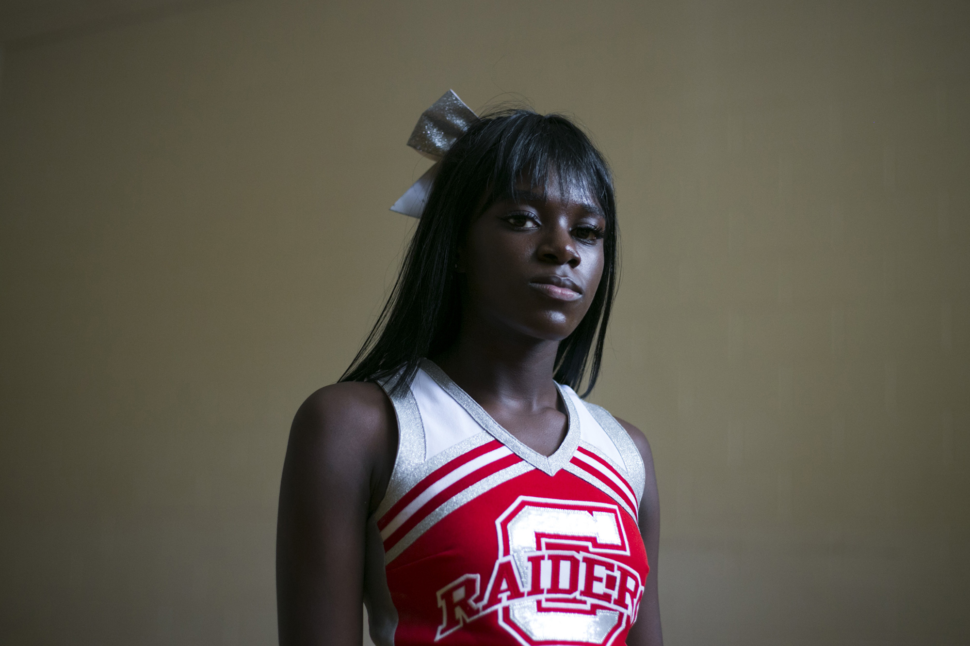 London Gladden, 17, during cheerleading practice at the High School of Commerce in Springfield, Mass., on Friday, September, 8, 2017. (Brittany Greeson/GroundTruth)