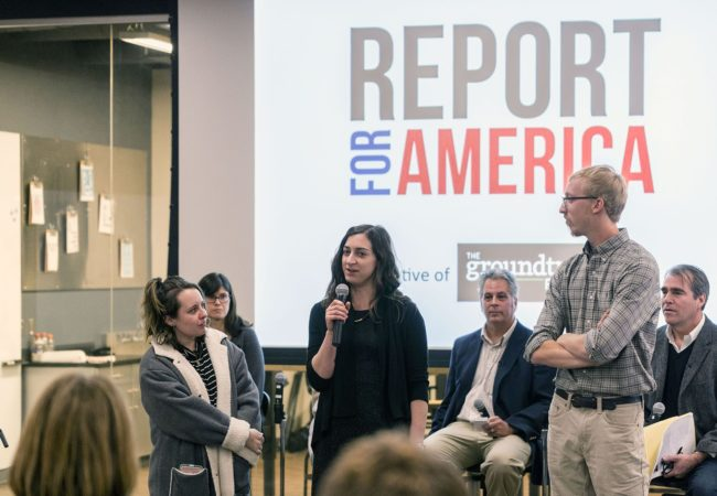 Report for America corps members (standing, from left) Caity Coyne, Molly Born and Will Wright, arrived in West Virginia this week to meet their host news organizations and to receive trainingfrom GroundTruth and other partners. (Photo by Jesse Wright/WVPB)