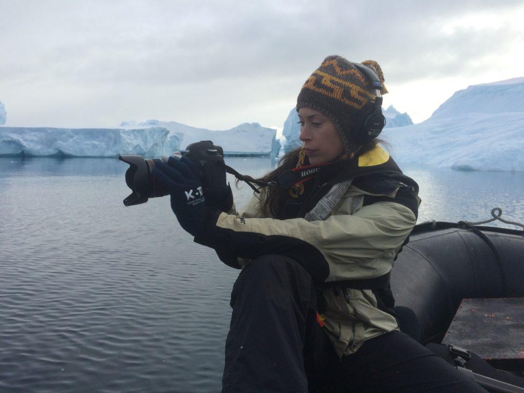 Caitlin McNally, a documentary filmmaker, working on a GroundTruth fellowship in Antarctica. (Courtesy of Caitlin McNally)