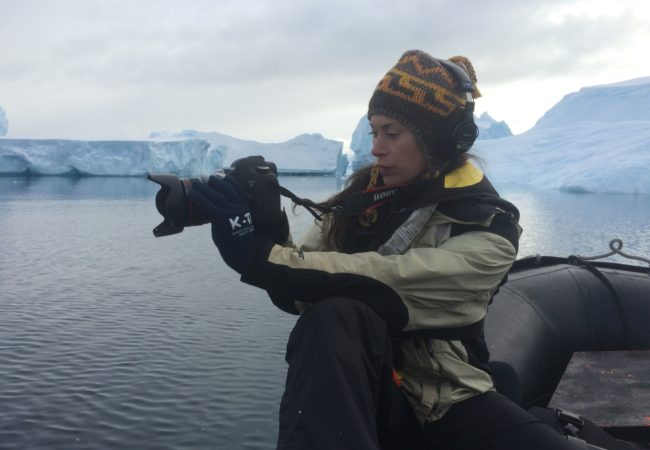 Caitlin McNally, a documentary filmmaker, working on a GroundTruth fellowship in Antarctica. (Courtesy of Caitlin McNally)