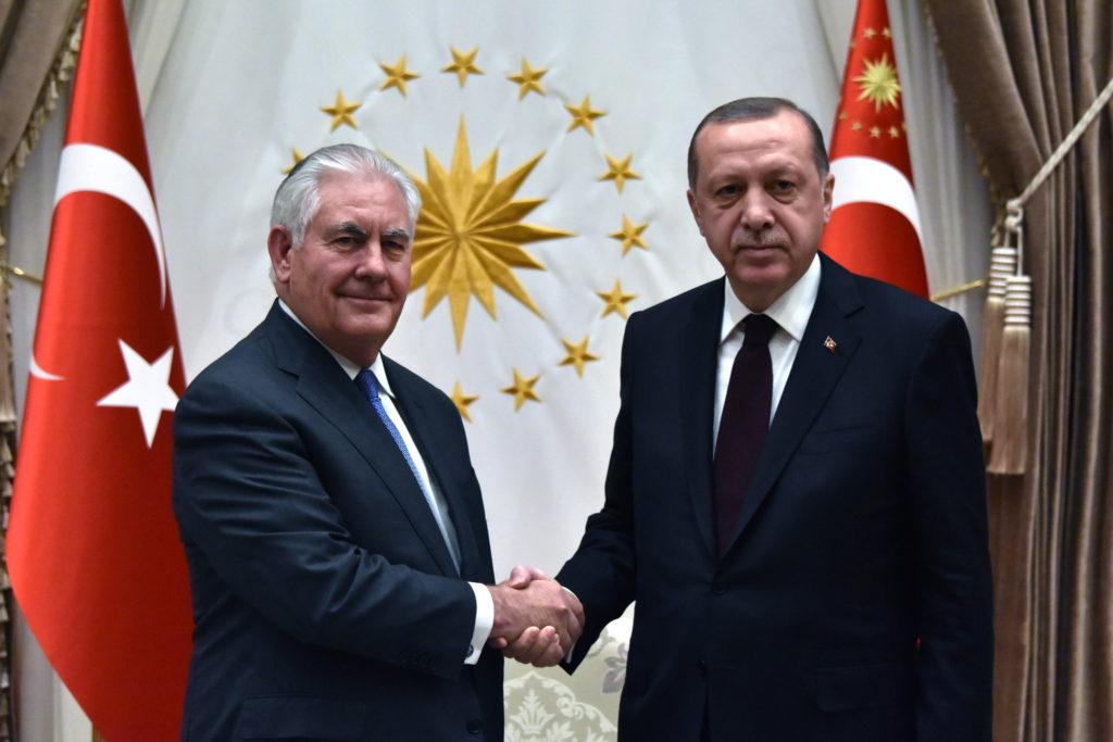 U.S. Secretary of State Rex Tillerson shakes hands with Turkish President Recep Tayyip Erdoğan in Ankara, Turkey, on February 16, 2018. (U.S. State Department)