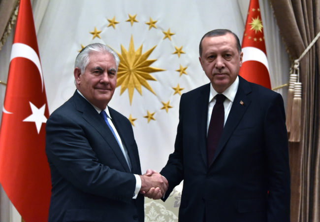 U.S. Secretary of State Rex Tillerson shakes hands with Turkish President Recep Tayyip Erdoğan in Ankara, Turkey, on February 16, 2018. (U.S. State Department)