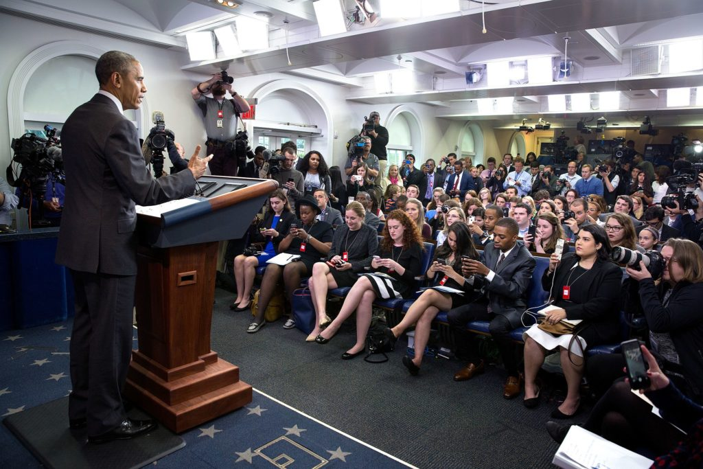 It can to strike the right balance between having a personality and maintaining journalistic standards in your social media presence. Pictured, President Barack Obama addresses student journalists at College Reporter Day on April 26, 2016. (Pete Souza/The White House)